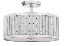 Pierce Bamboo 3 Light 15.25-INCH Dia Chrome Flush Mount - Chrome Shade Color: Off-White