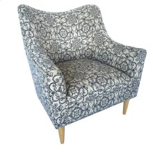 Huntington Upholstered Blue Pattern Shaped Back Arm Chair