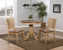 """Sunset Trading 3 Piece Brook 36"""" Round Dining Set with Slat Back Chairs"""