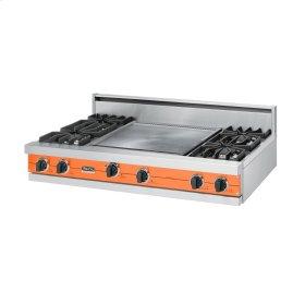 """Pumpkin 48"""" Sealed Burner Rangetop - VGRT (48"""" wide, four burners 24"""" wide griddle/simmer plate)"""