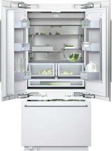 """400 series Three-door bottom freezer with integrated ice maker Fully integrated Width 36"""" (91.4 cm)"""