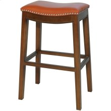 Elmo Bonded Leather Bar Stool, Pumpkin