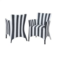 Rattan Peel Chairs In Hand Painted Black And White Stripe Finish - Set of 2