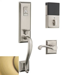 Satin Brass and Brown Evolved Stonegate Handleset