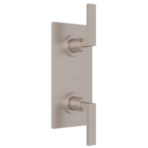 """Satin Nickel Wave 1/2"""" Thermostatic/Diverter Control Trim with Wave Metal Lever"""