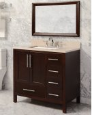 White MALIBU 36-in Single-Basin Vanity Cabinet with Carrara Marble Stone Top and Muse 20x13 Sink Product Image