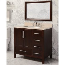 White MALIBU 36-in Single-Basin Vanity Cabinet with Crema Marble Stone Top and Karo 20x13 Sink