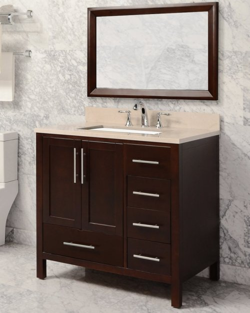 Walnut Brown MALIBU 36-in Single-Basin Vanity Cabinet with Carrara Marble Stone Top and Karo 20x13 Sink