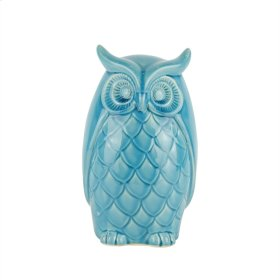 "Ceramic Owl Decor, 9.75"", Teal"