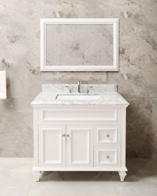 Espresso PRESLEY 36-in Single-Basin Vanity Cabinet with Crema Marble Stone Top and Julian 18x12 Sink