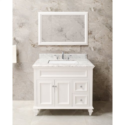 Walnut Brown PRESLEY 36-in Single-Basin Vanity Cabinet with Carrara Marble Stone Top and Karo 18x12 Sink
