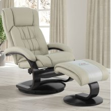 Beige (Tan) Breathable Air Leather with Alpine Finish - Reclines - Swivels - Lumbar Support - Angled Ottoman - Quality Breathable Air Leather
