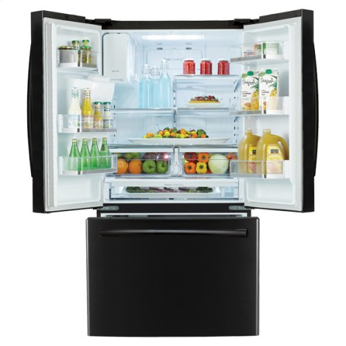 "36"" Wide, 31 cu. ft. French Door Refrigerator, with Dual Ice Maker (Black)"