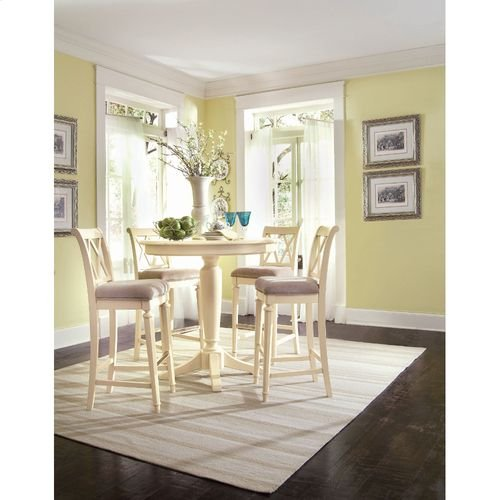 Camden Buttermilk Round Counter Height Ped Table Complete