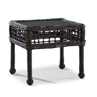 Moraya Bay End Table W/Woven Insert & Clear Glass