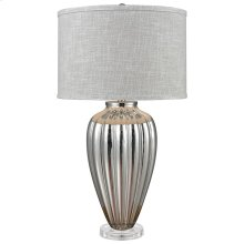 Clothilde Table Lamp In Silver Mercury Glass and Acrylic With Grey Linen Hardback Shade