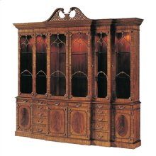 Light Mahogany Georgian Lighted Triple Breakfront China Cabinet, Glass Shelves