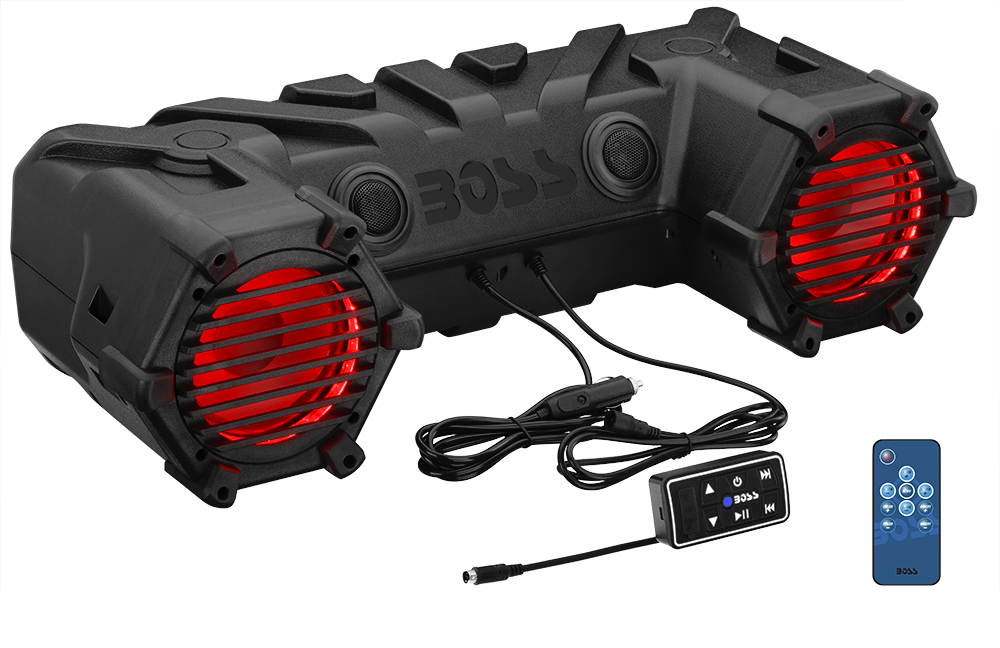 Powersports Plug and Play Audio System with Weatherproof 6.5 Inch Component Speakers, Built in 450 Watt Amp and Multi-Color Illumination.