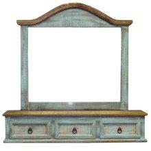 Turquoise three drawer mirror