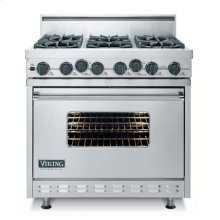 "Oyster Gray 36"" Open Burner Dual Fuel Range - VDSC (36"" wide range with four burners, 12"" wide char-grill, single oven)"