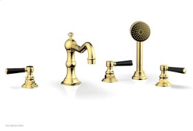 HENRI Deck Tub Set with Hand Shower with Marble Handles 161-50 - Polished Gold