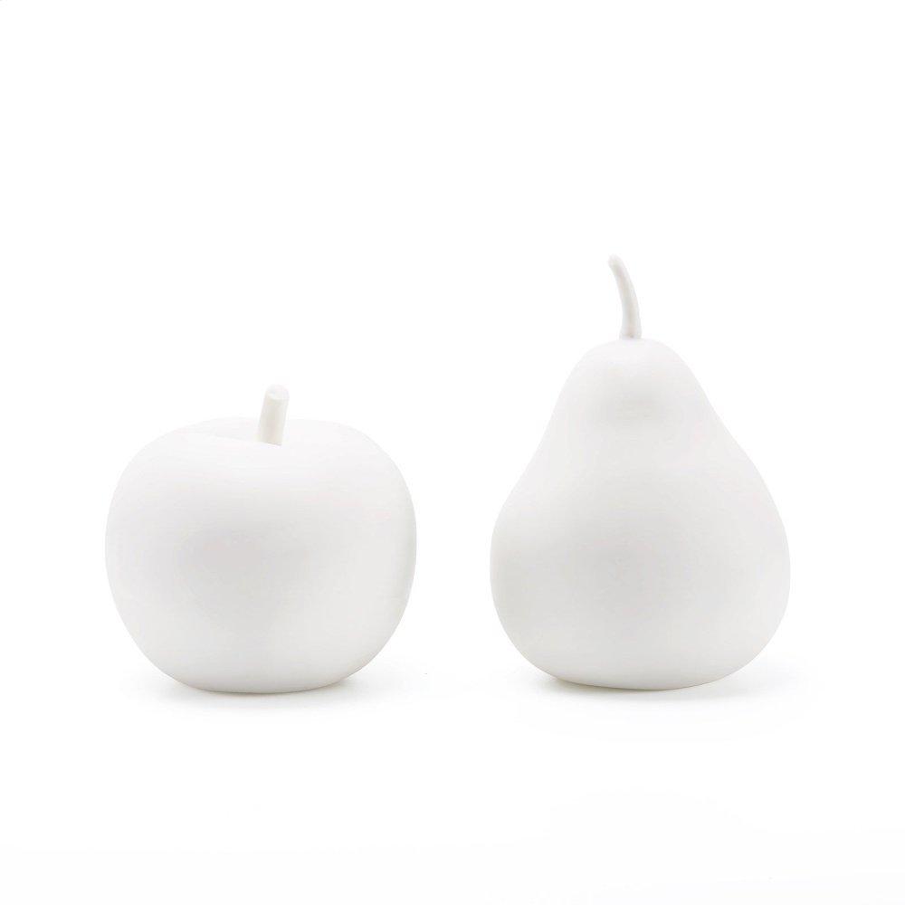 Apple & Pear Porcelain Figures, White