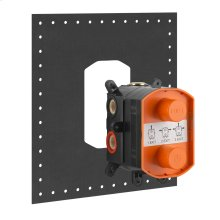 """In-wall thermostatic rough valve for 1/2/3-way diverter function 1/2"""" connections Vertical/Horizontal application Anti-scalding Max flow rate at 43 PSI: 1 exit 6.1 GPM 2 exit 5.7 GPM 3 exit 5.8 GPM"""