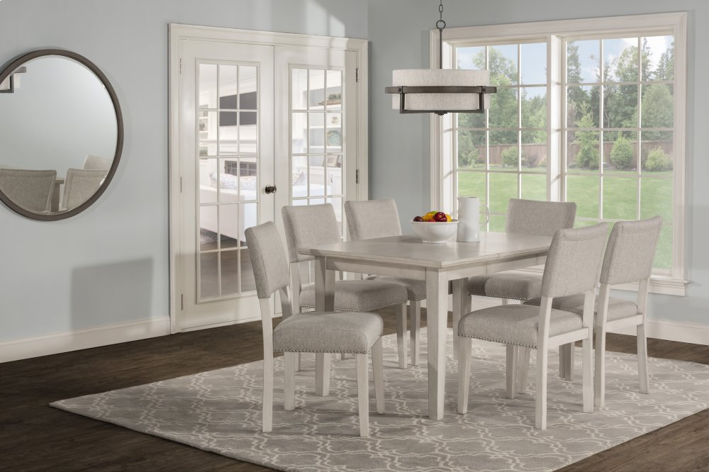 Elder Park 7 Piece Rectangle Dining Set   White Sands With Oatmeal Fabric
