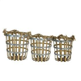 S/3 Bamboo/metal Baskets