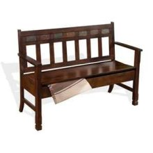 Santa Fe Bench w/ Storage & Wood Seat