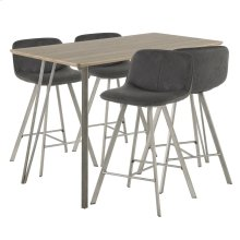 Sedona 5-piece Counter Set - Brushed Antique Metal, Brown Wood, Black Fabric