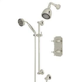 Polished Nickel Perrin & Rowe Deco Thermostatic Shower Package with Deco Cross Handle