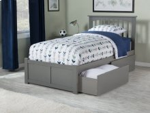 Mission Twin XL Flat Panel Foot Board with 2 Urban Bed Drawers Atlantic Grey