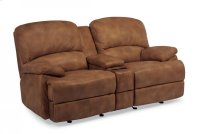 Dylan Leather Chaise Gliding Reclining Loveseat with Console Product Image