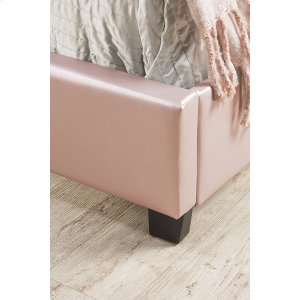 Karley Footboard and Rails - Twin - Embossed Pink With Glass Button