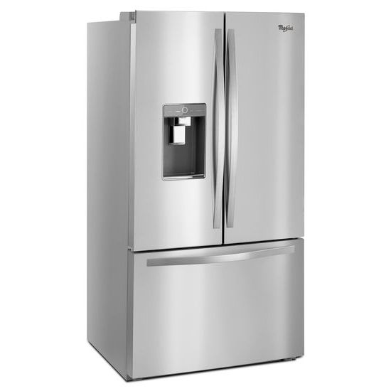 monochromatic stainless steel. Whirlpool® 36-inch Wide French Door Refrigerator With Infinity Slide Shelf - 32 Cu Monochromatic Stainless Steel