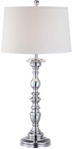 Table Lamp, Chrome/white Fabric Shade, E27 Cfl 23w