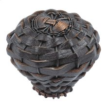 Hamptons Expresso Leather Knob 2 Inch - Aged Bronze