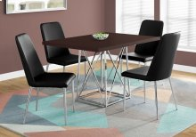 "DINING TABLE - 36""X 48"" / CAPPUCCINO / CHROME METAL"