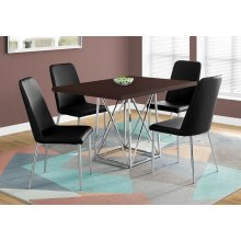 """DINING TABLE - 36""""X 48"""" / CAPPUCCINO / CHROME METAL"""