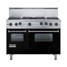 """Black 48"""" Sealed Burner Self-Cleaning Range - VGSC (48"""" wide, four burners & 24"""" wide wok/cooker)"""