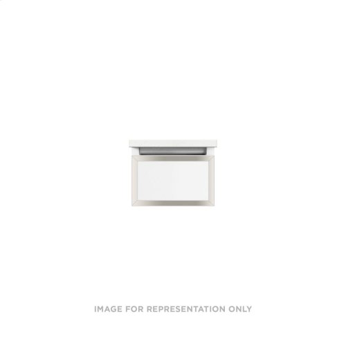 """Profiles 12-1/8"""" X 7-1/2"""" X 18-3/4"""" Framed Slim Drawer Vanity In Matte White With Polished Nickel Finish and Slow-close Full Drawer"""