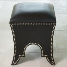 Moroccan Poof-Black Leather