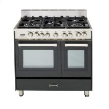"Black 36"" Dual Fuel Convection Range with Double Oven"