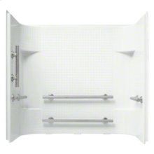 "Accord® 60"" x 30"" x 55"" Tile Wall Set with Grab Bars - White"