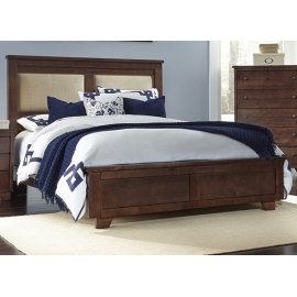 6/6 King Upholstered Bed - Espresso Pine Finish