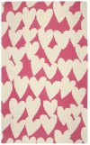 Hearts Pink Cream Loop Hooked Rugs