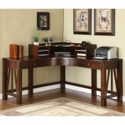 Castlewood - Curved Corner Desk Hutch - Warm Tobacco Finish Product Image