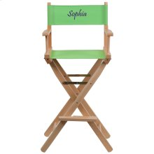 Embroidered Bar Height Directors Chair in Green