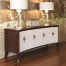 Klismos Media Cabinet-Walnut w/Ivory Doors Product Image